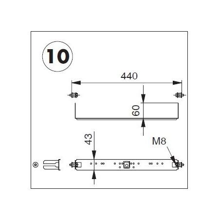 Plaque de raccordement complète avec fixation pour système TECEprofil (TECE)