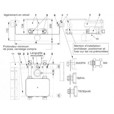 Unicount  Koax 2\'\' avec T pour système d\'installation GIS  (Geberit) avec plaque de recouvrement chromée