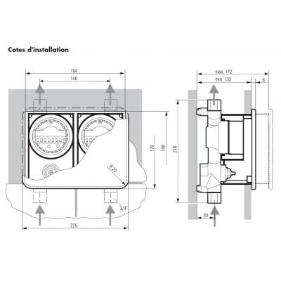 Unicount  Koax 2\'\' ohne T zu Installationssystem OPTIVIS   (Nussbaum) mit verchromter Abdeckplatte