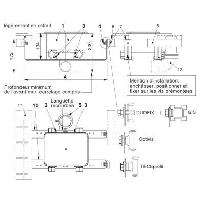 Unicount  Koax 2\'\' ohne T zu Installationssystem TECEprofil   (TECE)  mit weisser  Abdeckplatte (alpinweiss)