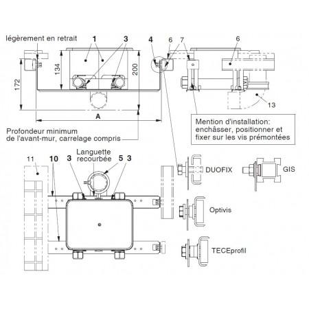 Plaque de raccordement complémentaire pour système DUOFIX (Geberit) Vendue par pièce mais 2 nécessaires !