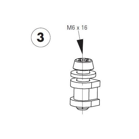 Set de fixation (6 vis M6x16mm, 6 rondelles M6 et 6 becs d\'amortissement des bruits) pour Unicount Koax avec T