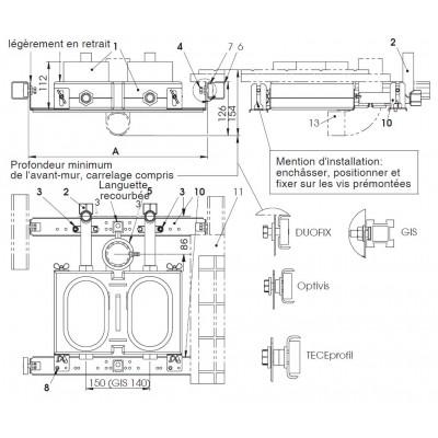 Plaque de raccordement complète avec fixation pour système DUOFIX (Geberit)