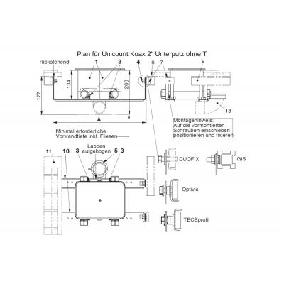Befestigungsset (6 Schrauben M6x16mm, 6 Muttern M6 und 6 Schallschutz-Tüllen) für Unicount Koax mit T